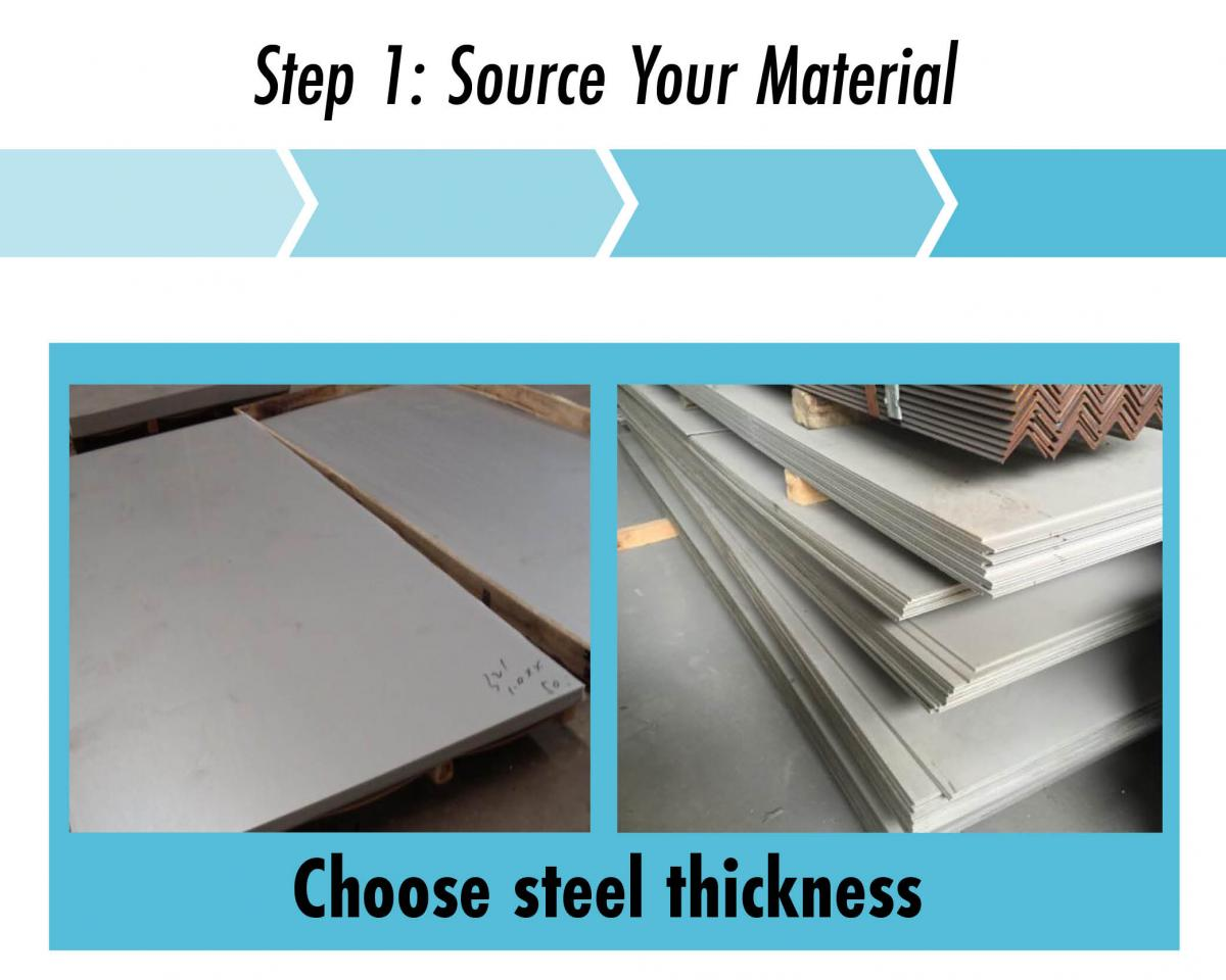 step 1 choose steel thickness